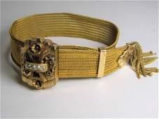 Antique Victorian Etruscan Style Tassel Bracelet Lemon