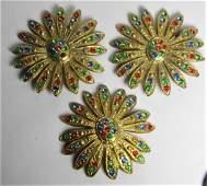3 Big Vintage Multi-color Rhinestone Metal Buttons