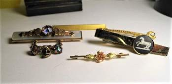 Five Victorian Antique Brooches Pins Wedgwood Tie Clip