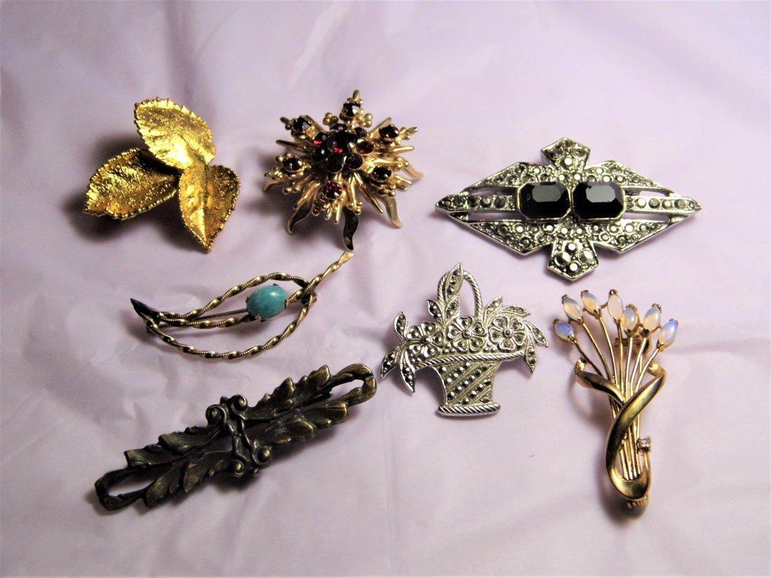 7 Vintage Pins Art Deco Modern Victorian