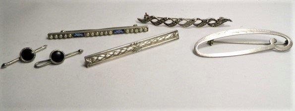 4 Vintage Sterling Silver Bar Pin & 1 Stud Links Pair