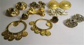 7 Pr Vintage Costume Designer Clip Earings