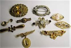 Lot of 10 Antique Victorian Pins Gold Plate Pinchbeck