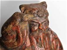 Asian Antique Cast Iron Statue Relic