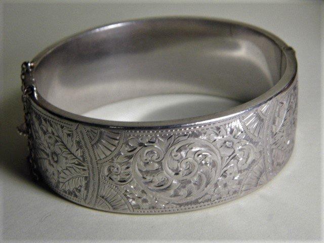 Vintage Art Deco Sterlig Silver Bangle Bracelet 1937