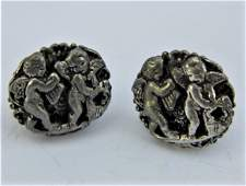 Antique Baroque Musical Putti Relief Clip Earrings