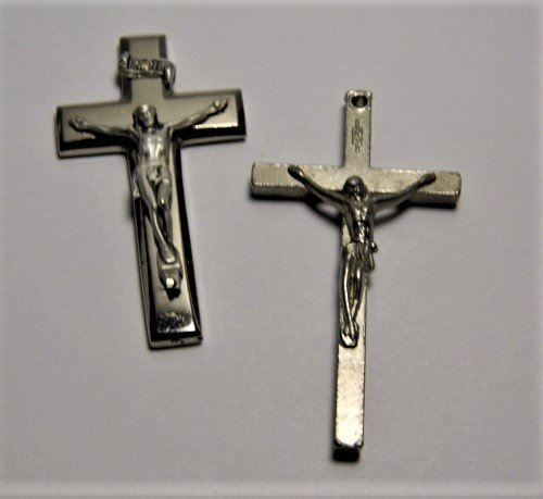 Vintage Pair Crucifix Icon and Necklace Pendant