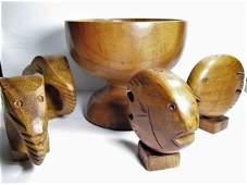 Vintage Hawaiian Milo Wood Turned Bowl Koa Shakers Tiki