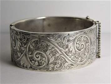 Antique Engraved Sterling Silver Cuff Bracelet Hallmark