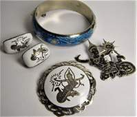 Five Piece Lot Vintage Siam Sterling Silver Jewelry