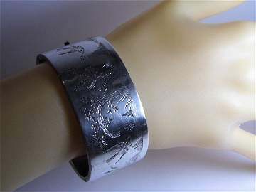 Large Antique Sterling Silver Bracelet Engraved Swallow