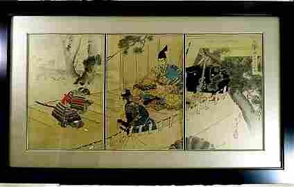 Tsukioki Yoshitoshi b 1839 Japanese Woodblock Tryptich