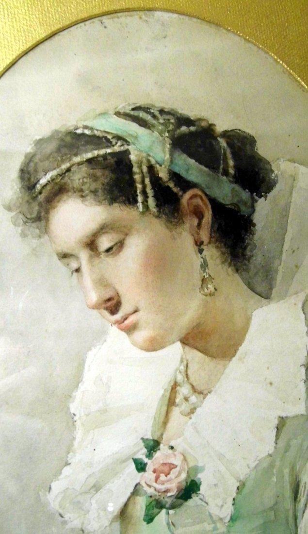 Italian Arturo Buzzi or Burzi Fine Watercolor Portrait