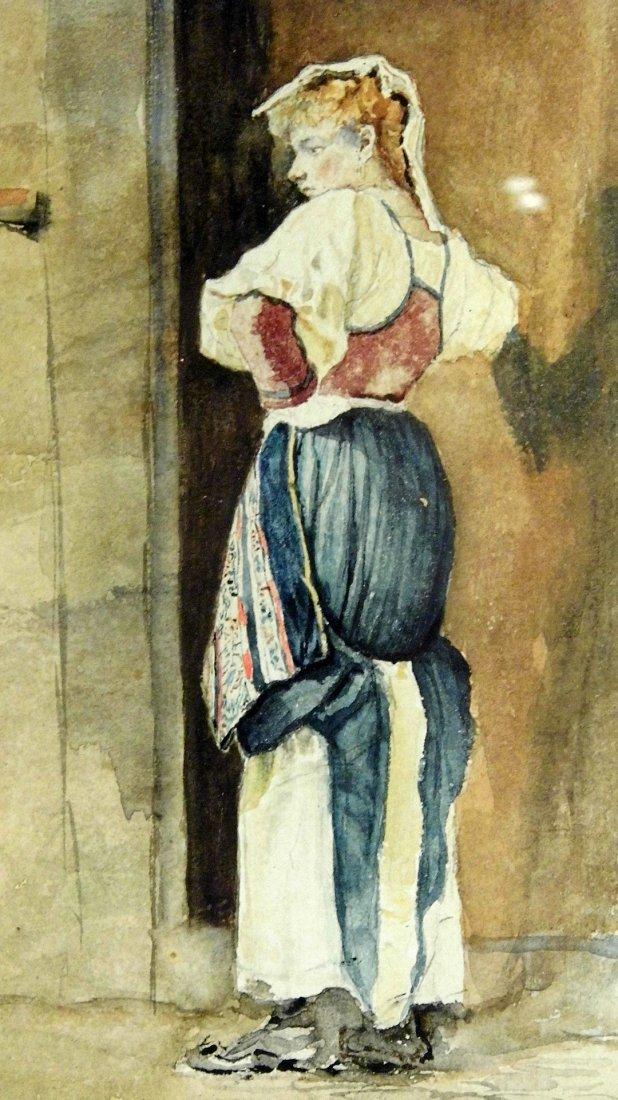 Costantini Italian Genre Watercolor Washmaid
