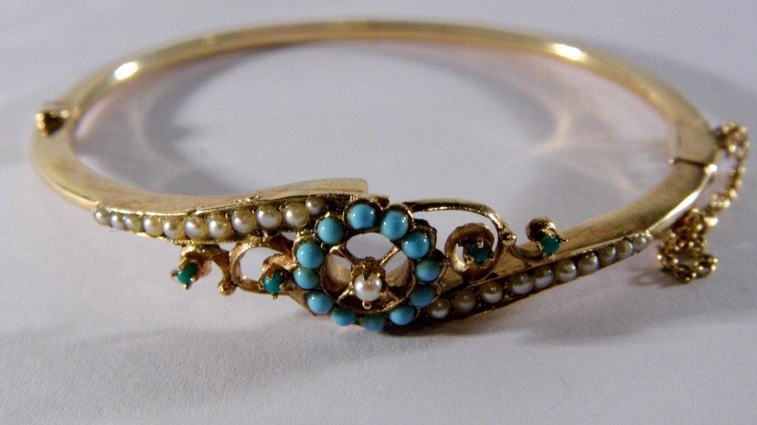 Vintage 14 Karat Gold Bracelet Turquoise & Seed Pearls