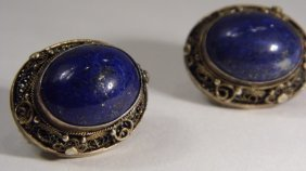 Vintage Azurite Sterling Silver Earrings
