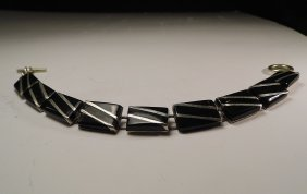 Unique Mexican Sterling Silver Onyx Inlaid Bracelet
