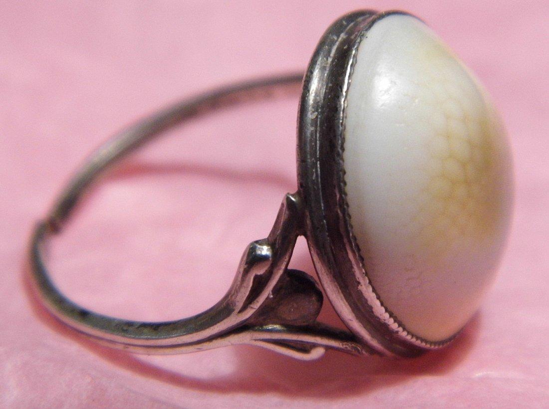 Beautiful Antique Victorian Operculum Ring 6 1/2 Adjust