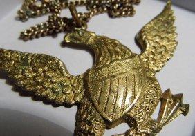 Antique Gilt Bronze Watch Fob & Gold Filled Chain