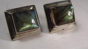 Cute Vintage Sterling Silver Labradorite Post Earrings