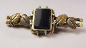 Antique Victorian Bronze Black Glass Mourning Brooch