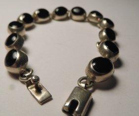 Vintage Mexican Sterling Silver Onyx Bracelet
