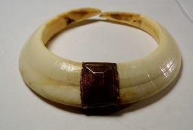 Vintage Large Boar's Ivory Tusks Pendant