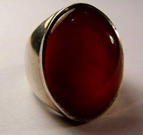 Vintage Large Sterling Silver Carnelian Ring Size 9 3/4