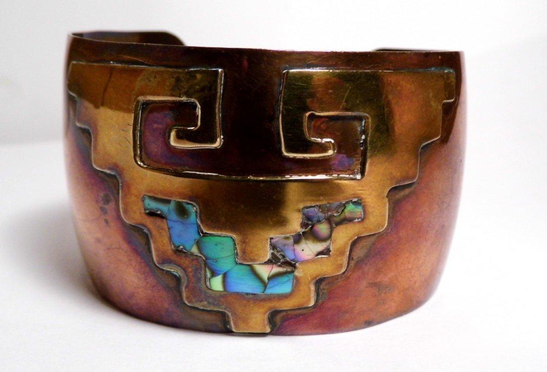 Vintage Copper Brass Abalone Cuff Bracelet Mexico
