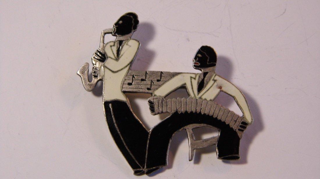 English Art Deco Sterling Silver Brooch Black Minstrels