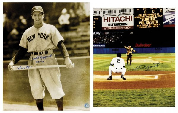 Baseball Two Large Signed Phil Rizzuto Photos