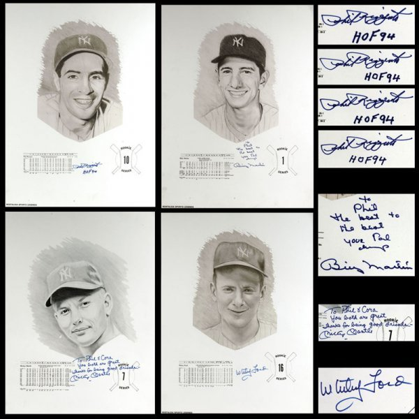 7 Signed Baseball Lithographs Mantle Whitey Ford Billy