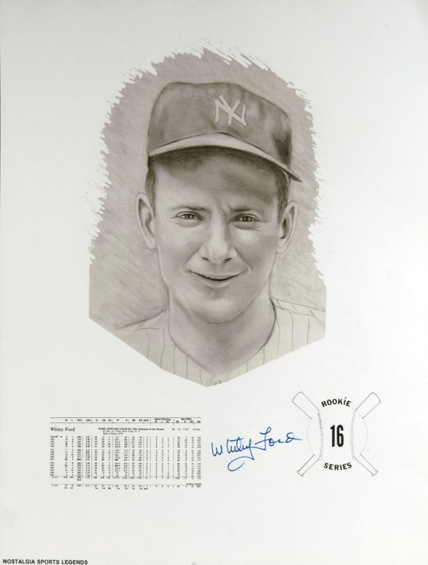 7 Signed Baseball Lithographs Mantle Whitey Ford Billy  - 6