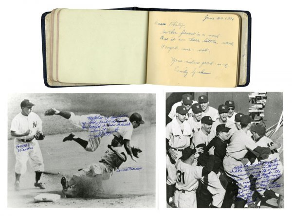 3 Phil Rizzuto Baseball Photos and Autograph Book