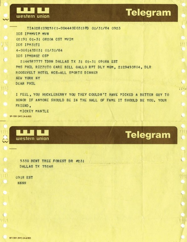 Baseball Mickey Mantle Telegram to Phil Rizzuto