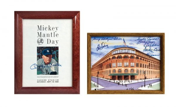 Mickey Mantle Day Signed Programs Signed Ebbets Field P