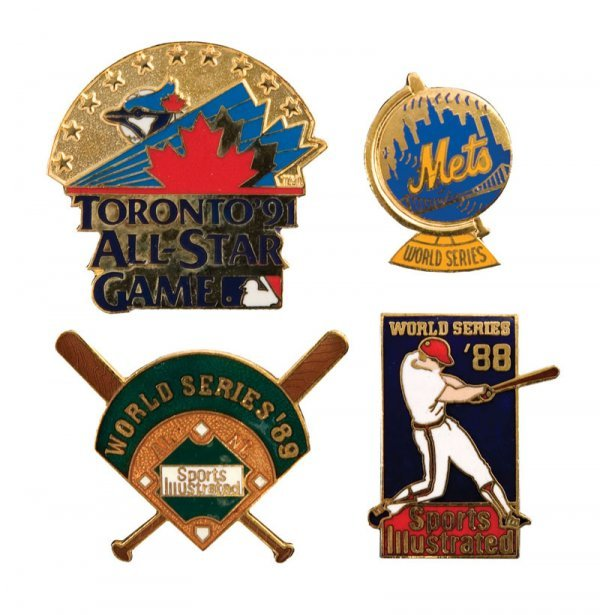514: Group of Baseball Pins including 3 World Series an