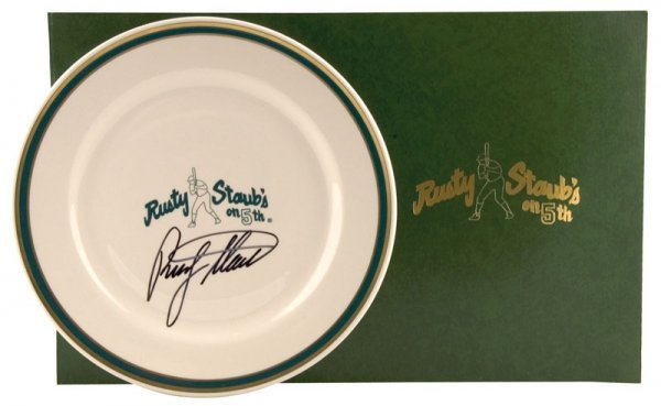 521: Set of Plates from Rusty Staub's Restaurant with M