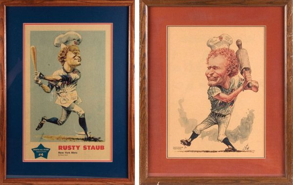 523: Two Rusty Staub Caricatures by Bruce Stark