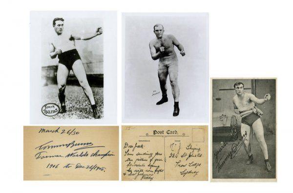 Boxing James J. Jeffries & Tommy Burns Ink Signatu