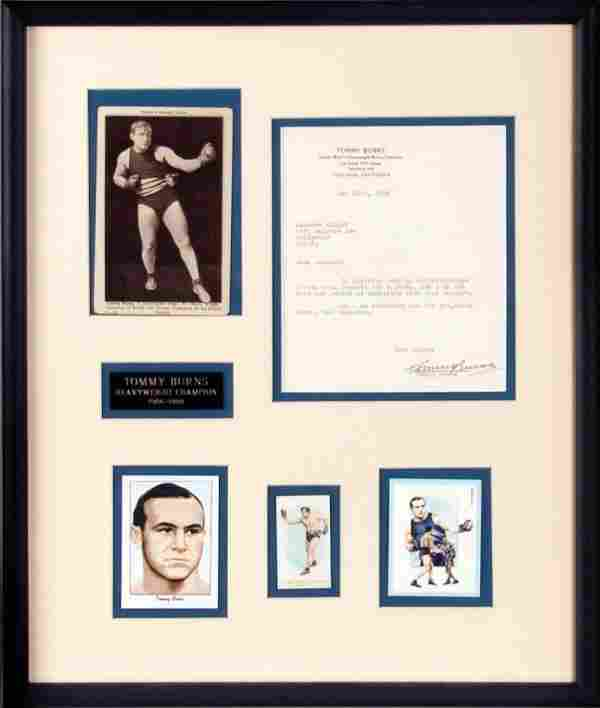 Tommy Burns Signed Letter Boxing Display
