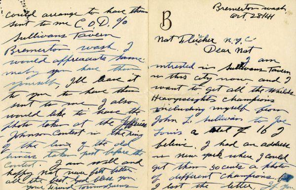 Boxing Tommy Burns Hand Written Letter