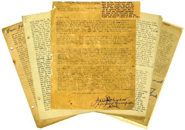 1: 1916 Jack Johnson Signed Boxing Confession LOA
