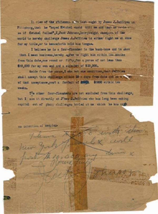 2: 1909 Jack Johnson Signed Challenge Jeffries LOA