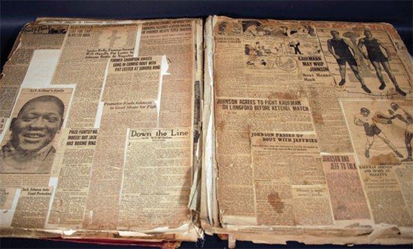 3: Orig Jack Johnson Boxing Scrapbook 1907-1945