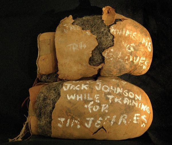 5: 1910 Jack Johnson Boxing  Gloves Jeffries LOA