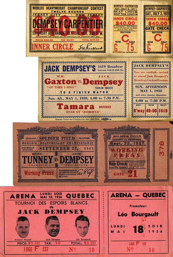 10: 1920s 4 Full Jack Dempsey Boxing Tickets LOA