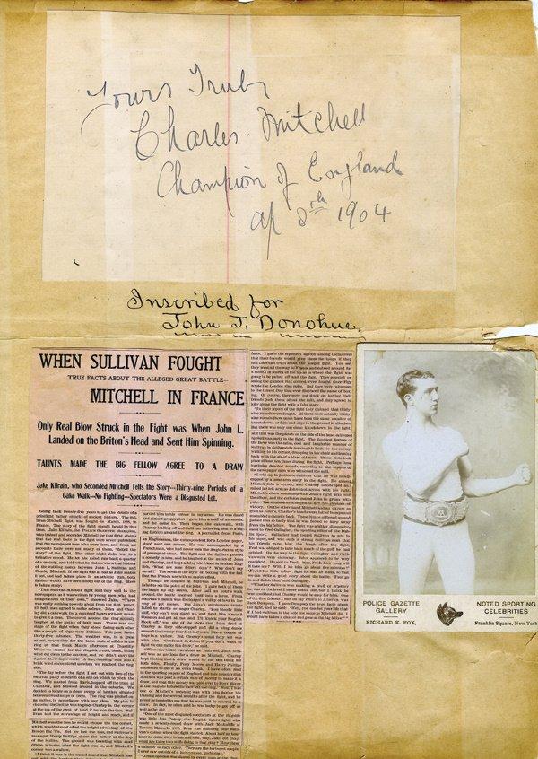13: 1904 Cabinet Card Charles Mitchell w/ signature LOA