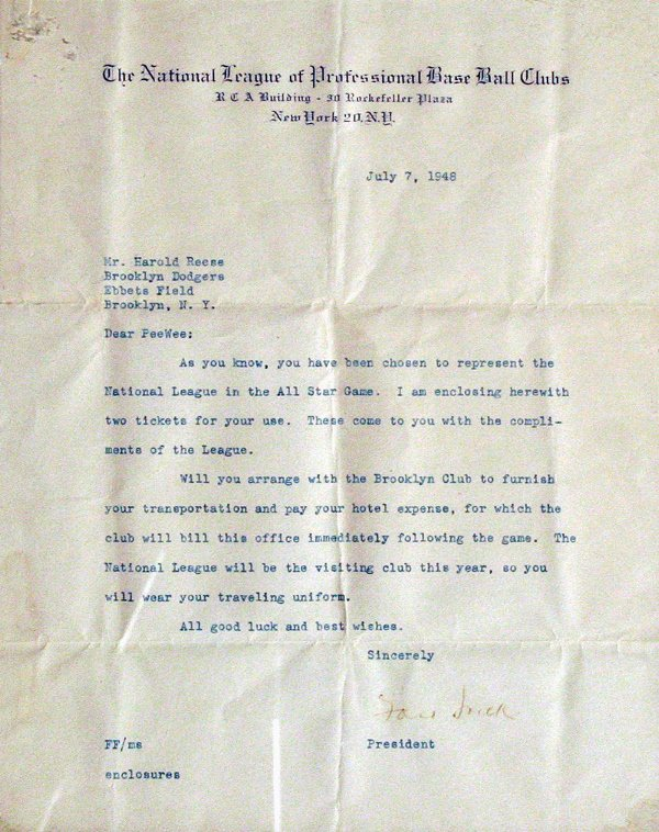 677: Ford Frick Signed Letter to Pee Wee Reese LOA