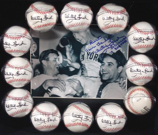 687: 12 Whitey Ford Signed Baseballs with Photo
